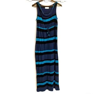 Old Navy Maternity Blue Striped Maxi Dress Small